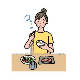 食欲がなくて困る女性のイラスト