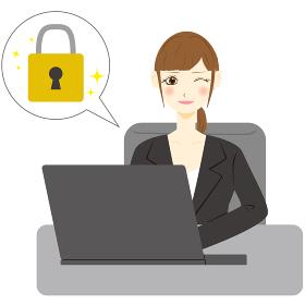 パソコン 女性 会社員 鍵 ロック