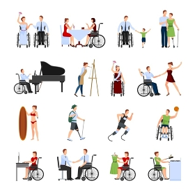 Disabled People Flat Icons Set. Disabled people leading full active creative life flat icons collection with paralympics runner abstract isolated vector illustration