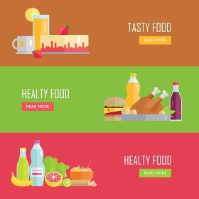 Set of Tasty and Healthy Food banners. Flat design. Collection of nutrition horizontal concept vectors with various foods and drinks. Illustration for cafe, grocery, farm web page, menus design.   . Set of Tasty and Healthy Food Vector Web Banners