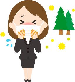 女性 スーツ せき 花粉