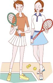 テニスをする女性2人