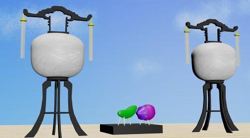お盆の提灯と精霊馬、3Dレンダリング