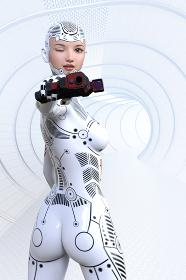 近未来な宇宙の基地の広く長い廊下で全身白いボディスーツの女性が銃を構えウィンクしながら照準を敵に合わ