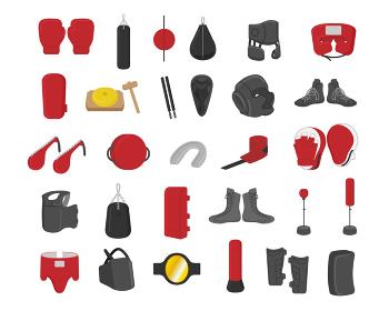 ボクシング道具イラスト素材セット