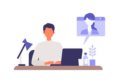 職場、自宅でパソコンを使用するビジネスマン