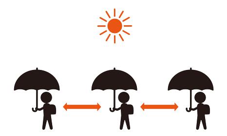 日傘で通学 ソーシャルディスタンス 熱中症予防