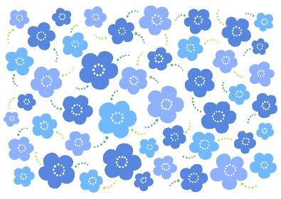 FlowerPattern ブルー花柄イラスト