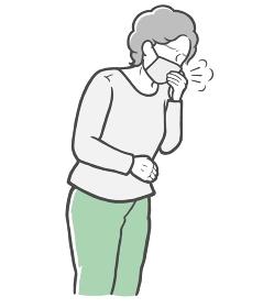 マスクを着用し、口を手で押さえて咳をする長袖を着た中年女性