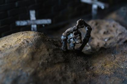 墓場と骸骨のジオラマ模型