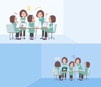 脳内会議をするチュニック中年女性のセット