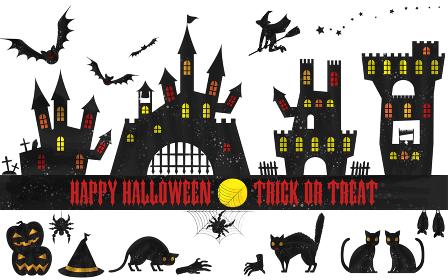 ハロウィンのシルエット素材セット:古城とコウモリ、カボチャと猫