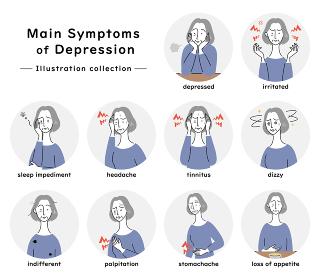 うつ病の主な症状 イラストセット(シニア女性)