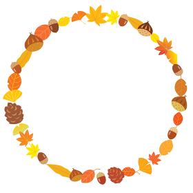 秋の栗とドングリとイチョウや紅葉の丸いフレーム