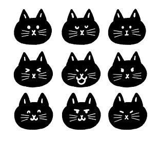黒猫の顔アイコンセット
