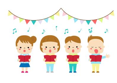 合唱 歌をうたっている四人の子どもたち