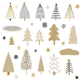 手書きツリー、雪の結晶素材セット