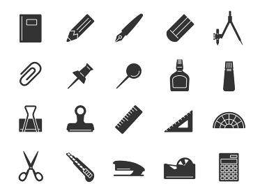 文房具と事務用品のアイコンイラストセット