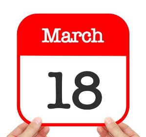 March 18 written on a calendar