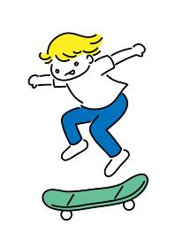 スケートボードでジャンプする少年のシンプルイラスト