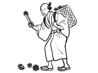 日本画タッチの栗拾いをする人物イラスト