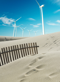 Wind turbines with sand dunes