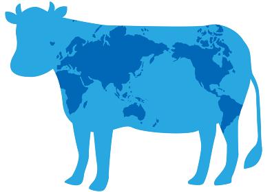 牛と世界地図の柄
