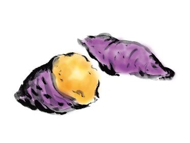 さつまいもの手描きイラスト 焼き芋
