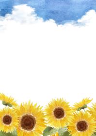 ひまわり 入道雲 背景 縦 水彩 イラスト