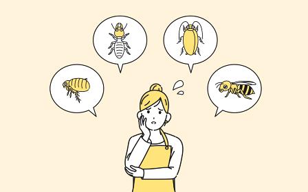 害虫に悩む主婦 困る 女性 イラスト素材