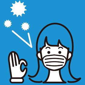 マスク 女性 花粉 ウイルス 病気 予防 花粉症 アイコン イラスト