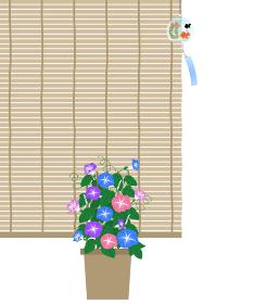 朝顔と金魚柄の風鈴のと簾の夏の景色のイラスト