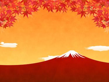 水彩画風加工 夕焼け・紅葉・富士山の風景(横向き)