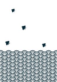 和柄波千鳥の背景イラスト 青海波文様と千鳥 年賀状暑中見舞い素材モノトーン