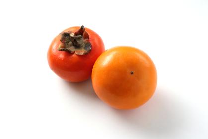 柿2つ 白背景