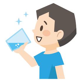 コップの水を飲む若い男性のイラストレーション