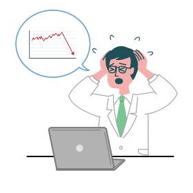 医師 医者 男性 パソコン グラフ 下降 焦っている