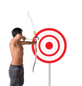 Asian man holding bow and shooting to archery target. Rear view,