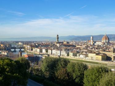 イタリア・フィレンツェにてミケランジェロ広場からの昼間の市街地眺望