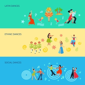 Horizontal Flat dance Style Banners. Horizontal flat style banners with latin ethnic and social dances isolated vector illustration