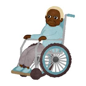 車いすに座っているかわいいアフリカンアメリカ人のおばあちゃんのイラスト