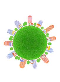 芝生の球体と家並みとビル群