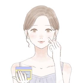 ワセリンを顔に塗って保湿する女性