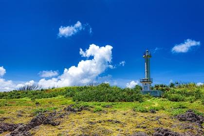 沖縄県・黒島 夏の黒島灯台の風景