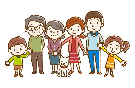 家族 三世代 手描き風