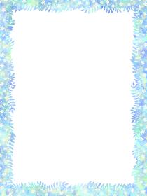 ロマンティックブルーの葉が生い茂るフレームと白い花の背景