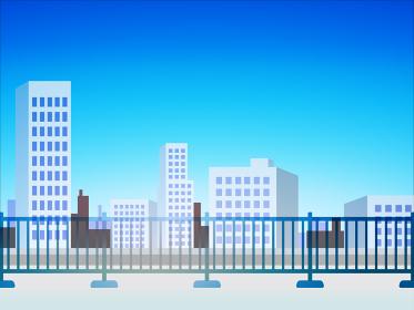 屋上からのオフィス街の風景 ベクターイラスト 背景 青空