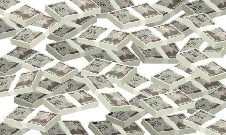 大量の札束が敷き詰められたベクターイラスト (一万円札)