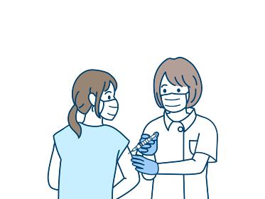 注射 コロナワクチン 予防接種 看護師 女性 イラスト素材