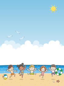 子供 海水浴 ジャンプ